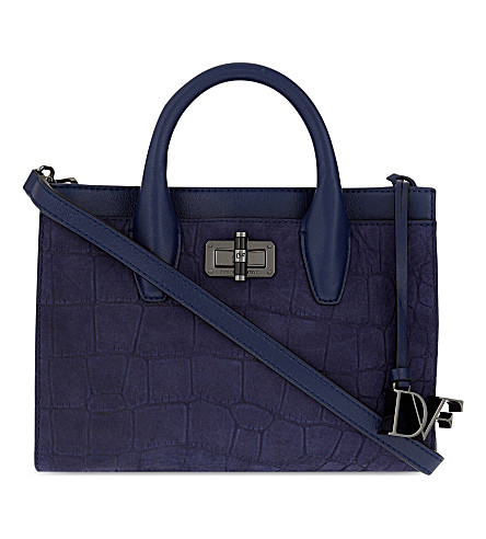 DIANE VON FURSTENBERG 440 Gallery mini Viviana crocodile-embossed leather tote (Dark night