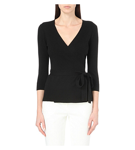 DIANE VON FURSTENBERG Ballerina Two silk and cashmere-blend wrap jumper (Black