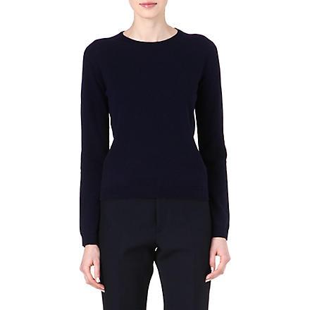 JIL SANDER Basic crew-neck cashmere jumper (Navy