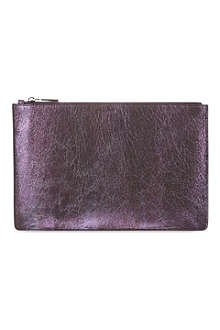 JIL SANDER Metallic leather envelope pouch