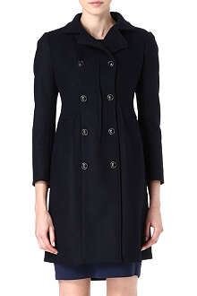 JIL SANDER Funnel double-breasted wool-blend coat
