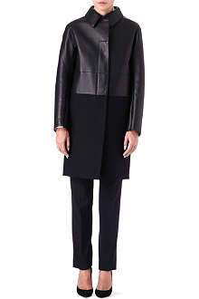 JIL SANDER Leather and wool panelled coat