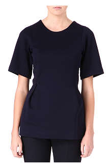 JIL SANDER Peplum cotton-blend top