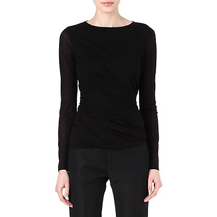 JIL SANDER Ruched jersey top (Black