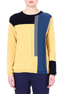 JIL SANDER Colour-blocked cashmere jumper