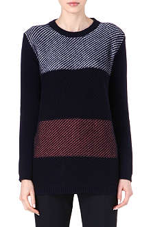 JIL SANDER Crew-neck striped cashmere jumper
