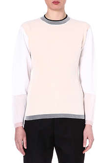 JIL SANDER Colour-blocked cotton-blend jumper