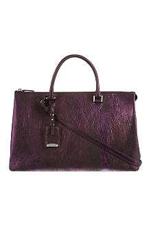 JIL SANDER Metallic leather shopper bag