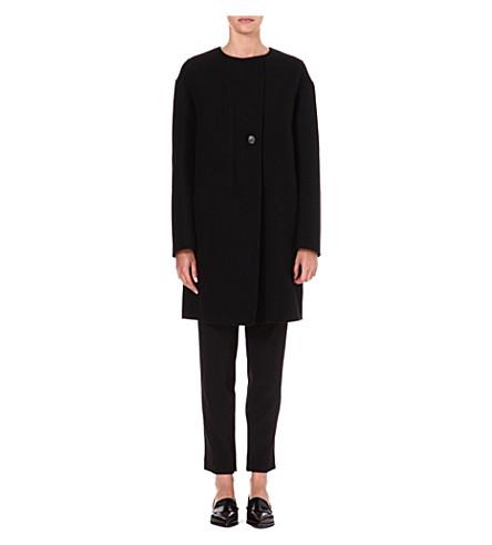JIL SANDER Collarless wool coat (Black