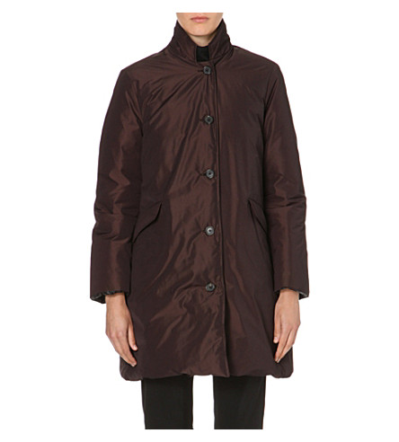 JIL SANDER Reversible quilted coat (Black/burgundy