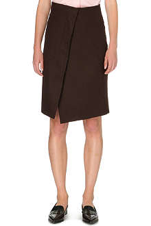 JIL SANDER Wrap-style stretch-wool skirt