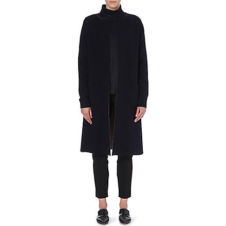JIL SANDER Collarless cashmere-blend coat (Navy/camel