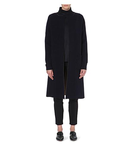 JIL SANDER Collarless cashmere-blend coat (Navy/camel
