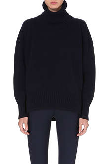 JIL SANDER Oversized cashmere leather-detail jumper