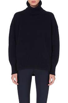 JIL SANDER Oversized cashmere leather-detail jumper