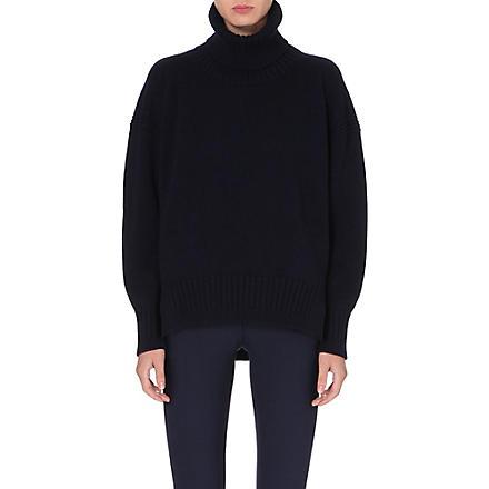 JIL SANDER Oversized cashmere leather-detail jumper (Navy