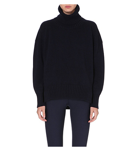 JIL SANDER Oversized cashmere leather-detail jumper (Navy