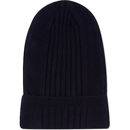 JIL SANDER Cashmere ribbed hat (Navy