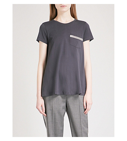 BRUNELLO CUCINELLI Bead-embellished cotton T-shirt (Charcoal