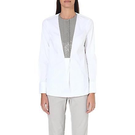 BRUNELLO CUCINELLI Embellished-panel shirt (White