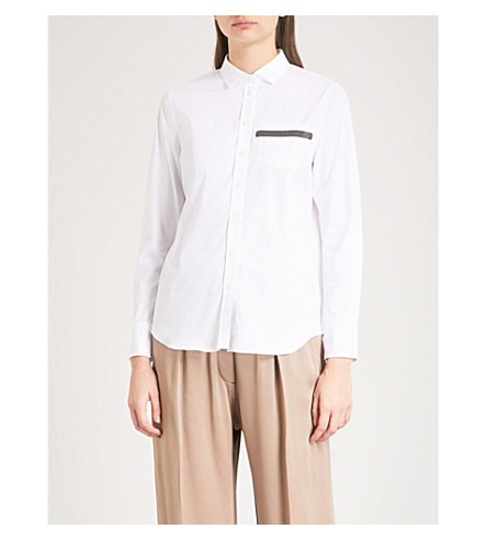 BRUNELLO CUCINELLI Bead-embellished stretch-cotton shirt (White