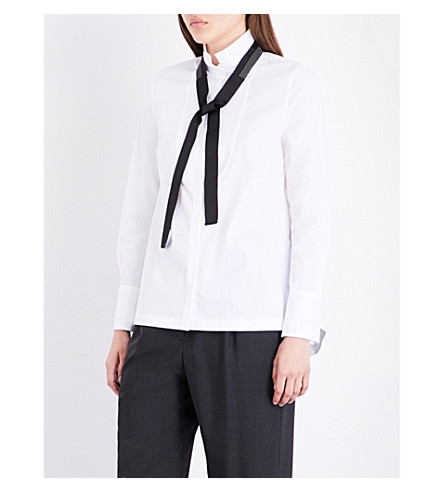 BRUNELLO CUCINELLI Tux neck-tie cotton-blend shirt (White