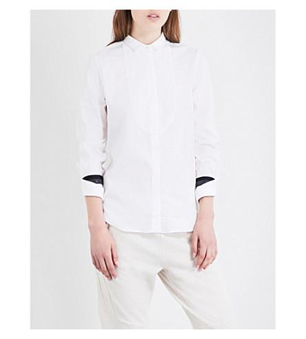 BRUNELLO CUCINELLI Cuff-embellished cotton-blend shirt (White