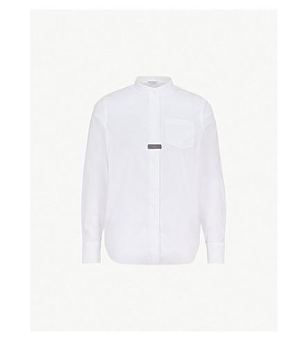 BRUNELLO CUCINELLI 带领珠修剪棉混纺衬衫 (白色