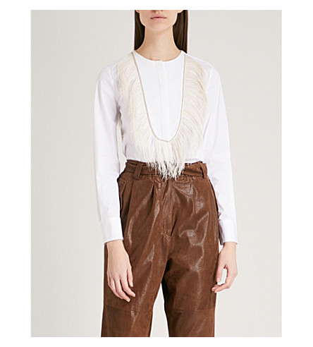 BRUNELLO CUCINELLI Feather-trimmed cotton shirt (White