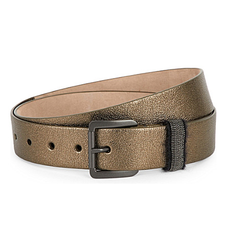 BRUNELLO CUCINELLI Military Buckle leather belt (Military+green