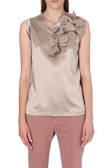 BRUNELLO CUCINELLI Leaf-detail silk top