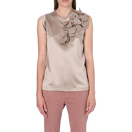 BRUNELLO CUCINELLI Leaf-detail silk top (Caramel
