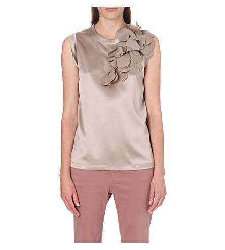 BRUNELLO CUCINELLI Leaf-detail silk top (Caramel