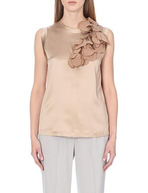 BRUNELLO CUCINELLI Leaf-detail stretch-silk top