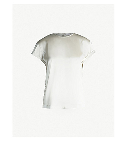 BRUNELLO CUCINELLI Bead-embellished stretch-silk T-shirt (Gyser