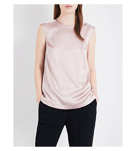 BRUNELLO CUCINELLI Embellished stretch-silk top (Antique+rose