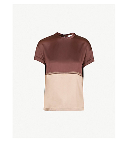 BRUNELLO CUCINELLI Bead-trim silk-blend T-shirt (Bordeaux