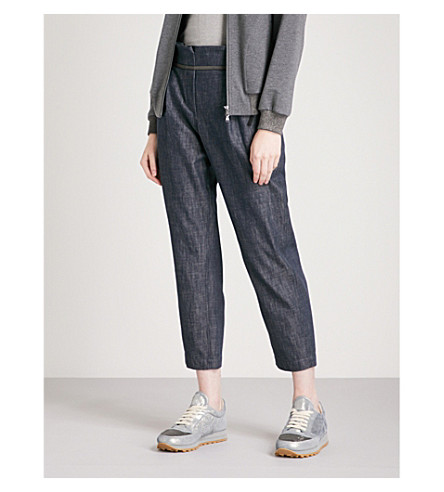 BRUNELLO CUCINELLI Bead-embellished tapered high-rise crepe trousers (Denim+blue