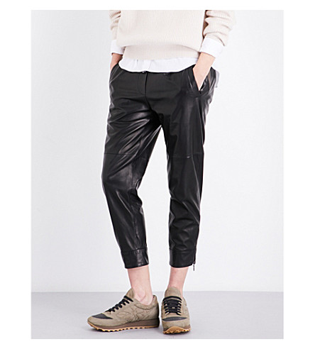 BRUNELLO CUCINELLI Cropped leather trousers (Black