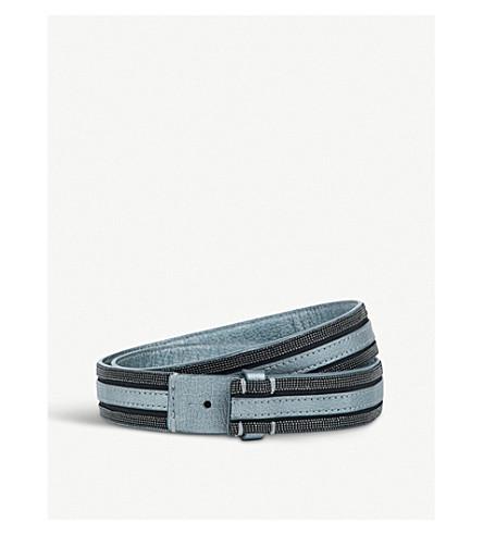 BRUNELLO CUCINELLI Bead-embellished leather belt (Blue