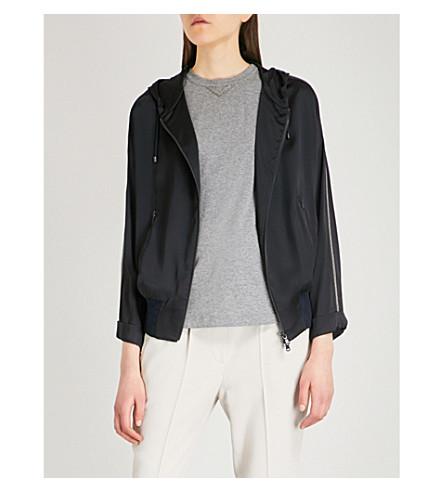 BRUNELLO CUCINELLI Travel hooded silk-satin jacket (Navy