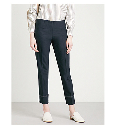 BRUNELLO CUCINELLI Wide cropped high-rise stretch-cotton trousers (Dark+blue