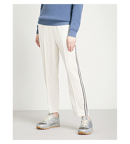 BRUNELLO CUCINELLI Contrast-trim straight high-rise satin trousers (Periwinkle