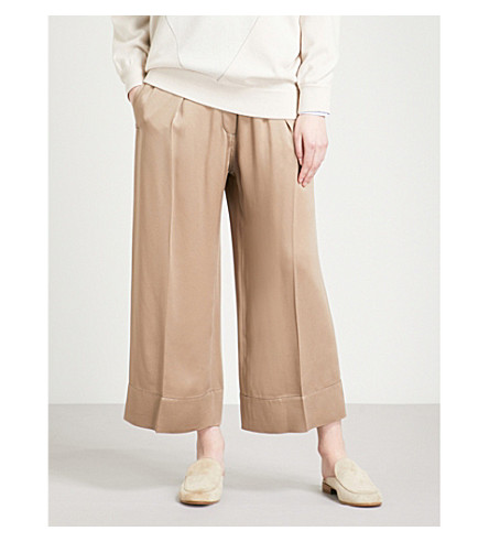 BRUNELLO CUCINELLI Wide cropped high-rise satin trousers (Honey