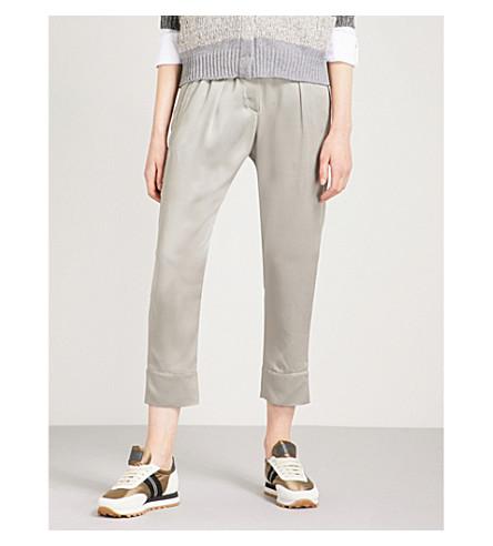 BRUNELLO CUCINELLI Straight high-rise satin trousers (Sage+green
