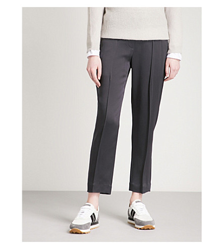 BRUNELLO CUCINELLI Tapered high-rise crepe trousers (Charcoal