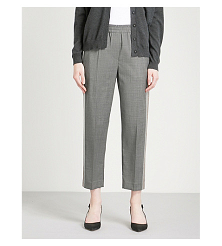 BRUNELLO CUCINELLI Metallic-panel tapered high-rise virgin wool trousers (Medium+grey
