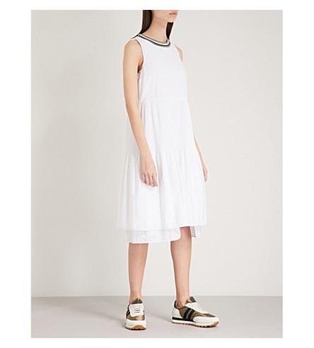 BRUNELLO CUCINELLI Metallic-trimmed cotton midi dress (White