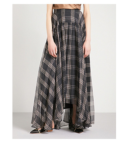 BRUNELLO CUCINELLI Tartan asymmetric-hem silk maxi skirt (Grey+orange
