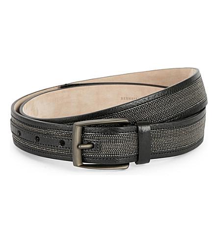 BRUNELLO CUCINELLI Shiny Stripes leather belt (Black